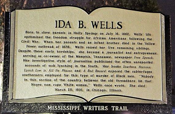 Ida B. Wells plack commemorating her life and accomplishments.